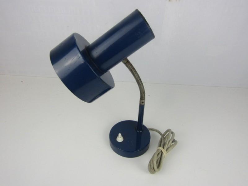 Retro Blauwe Metalen Bureaulampje