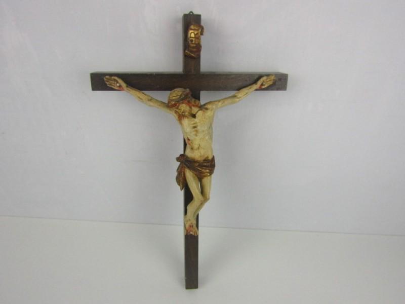 Beeld, Jezus aan het Kruis, Hout en Gips, middelgroot