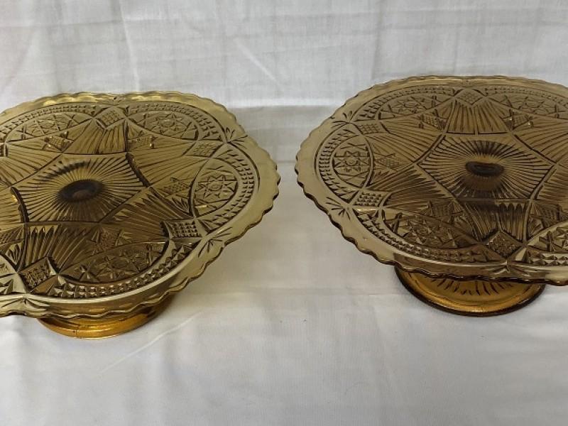 Duo glazen taartschalen
