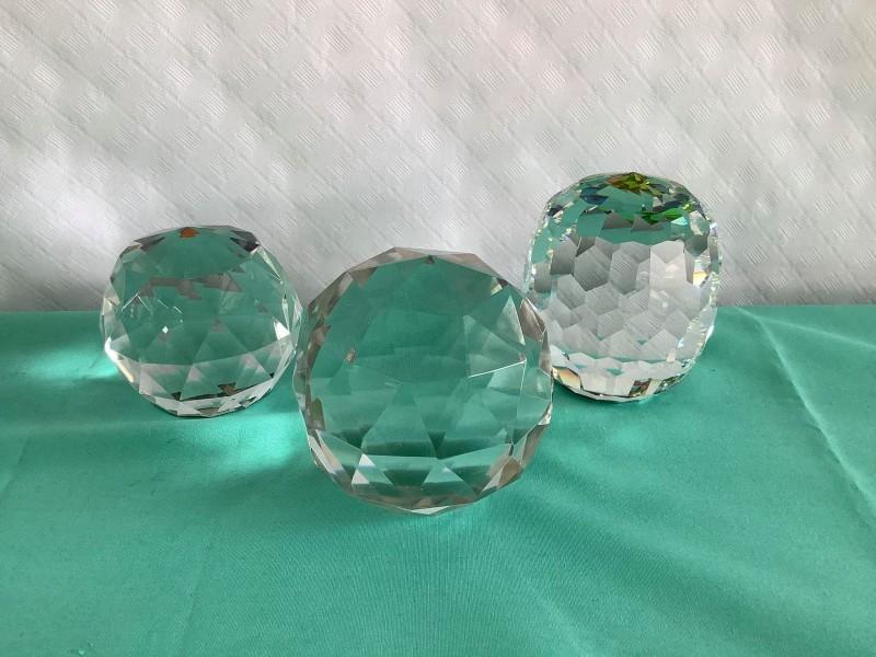 3 facet geslepen Prisma kristallen ballen