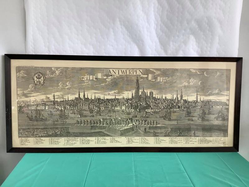 Druk van een panorama van Antwerpen (1730)