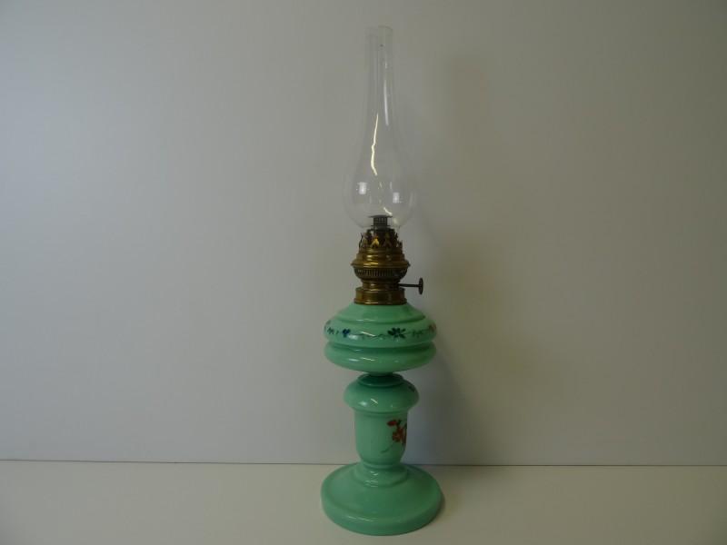Vintage cyan opaline glazen olielamp