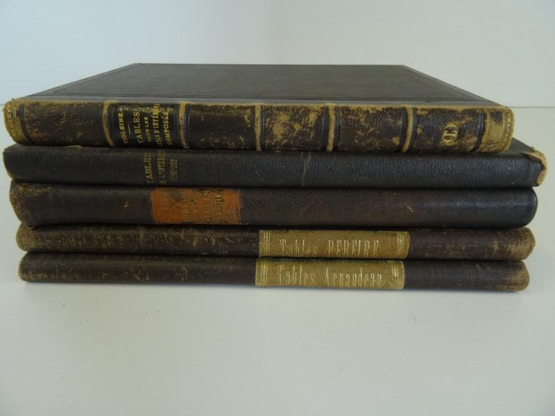 5 boeken 19e eeuw met tabellen financiële beursverrichtingen Frans