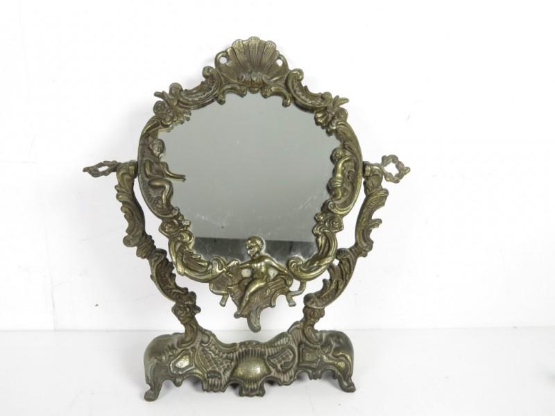 Vintage spiegel op voet (1)