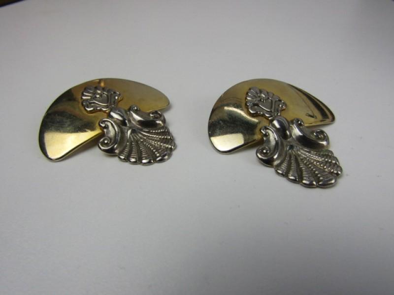 Vintage Oorbellen Goud- en Zilverkleurig, Waaiervorm