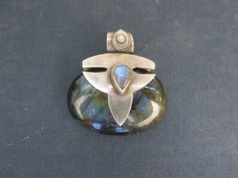 Vintage Hangjuweel: 925 Zilver, Ovalen, Natuursteen