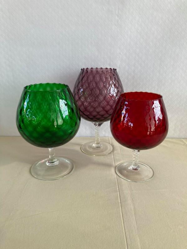 3 grote gekleurde glazen uit Murano