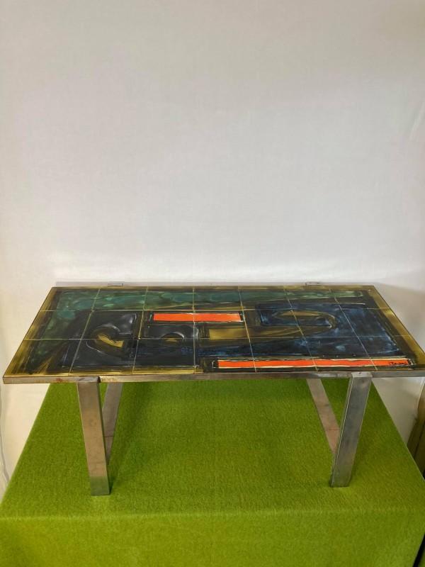 Retro salontafel met tegels: J. Belarti.