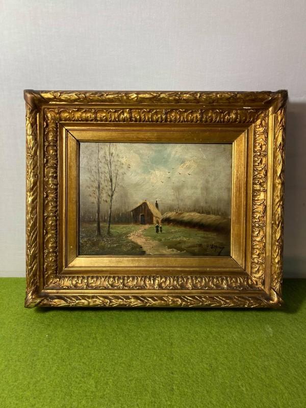 Schilderij op paneel met een gouden kader