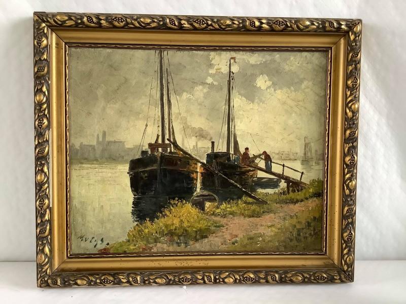 Schilderij met zicht op 2 boten