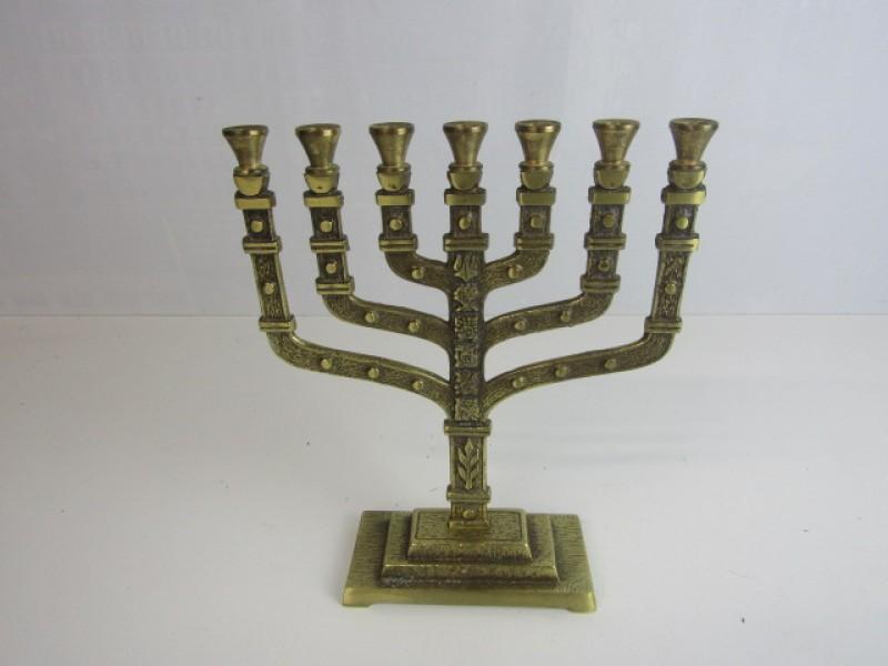 Joodse 7 Armige Kandelaar, Hen Holon Israël, brons/koperkleurig
