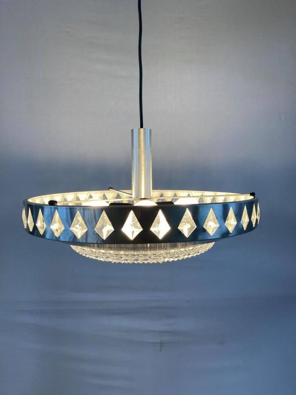 Vintage hanglamp in glas en chroom