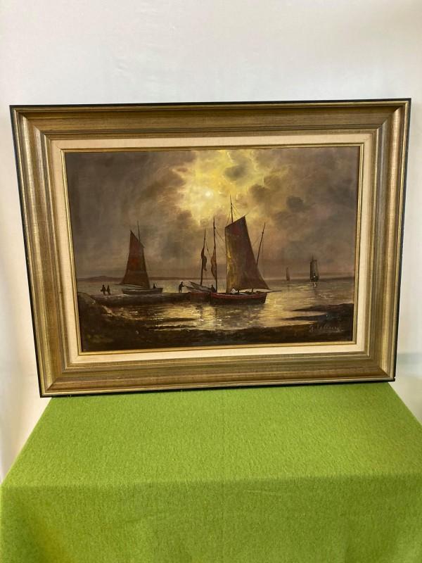 Groot schilderij gesigneerd G. Telliers