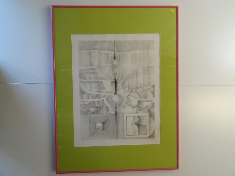 Abstract: gesigneerde en genummerde print  van tekening