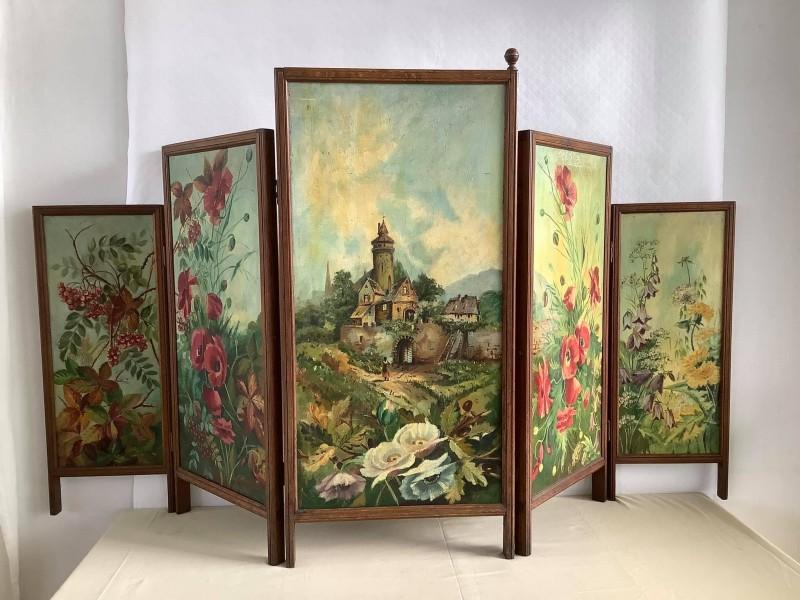 Decoratief beschilderd kamerscherm