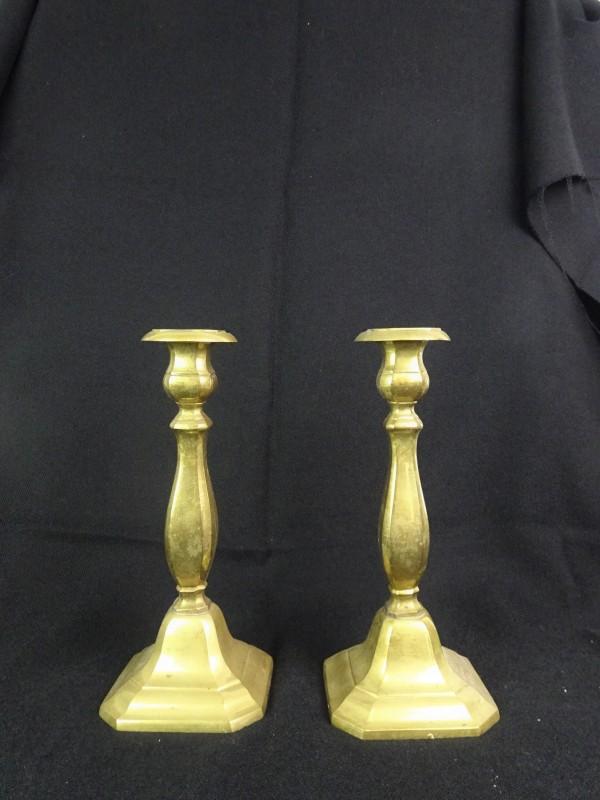 2 vintage koperkleurige kaarsenhouders
