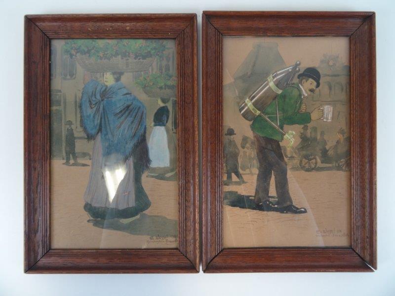 2 aquarel gernewerkjes van E. Wessel  1911