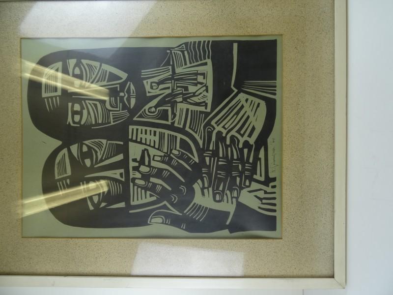 litho van 1960 kunstenaar handtekening  onleesbaar