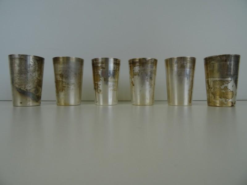 Silver Bruckmann auflage: 6 verzilverde bekers