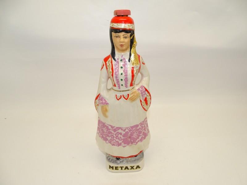 Vintage Metaxa Fles, Porselein