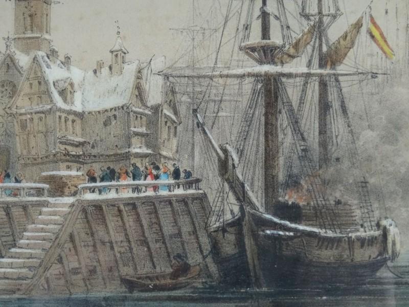 H. Hirgel: gekleurde tekening van een brandend schip aan een haven