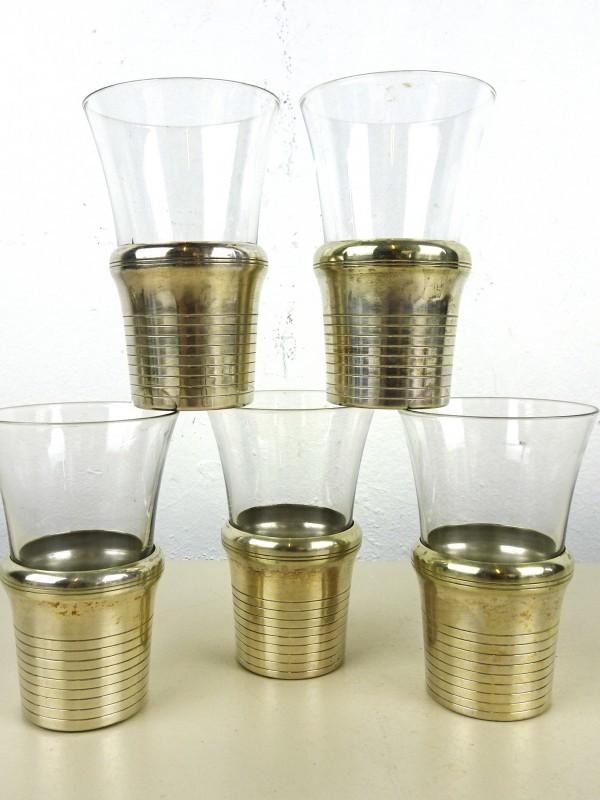 5 Glaasjes met verzilverde houder