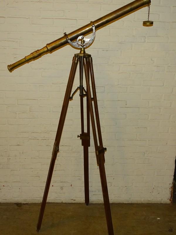 Grote Koperen Telescoop op Houten Statief
