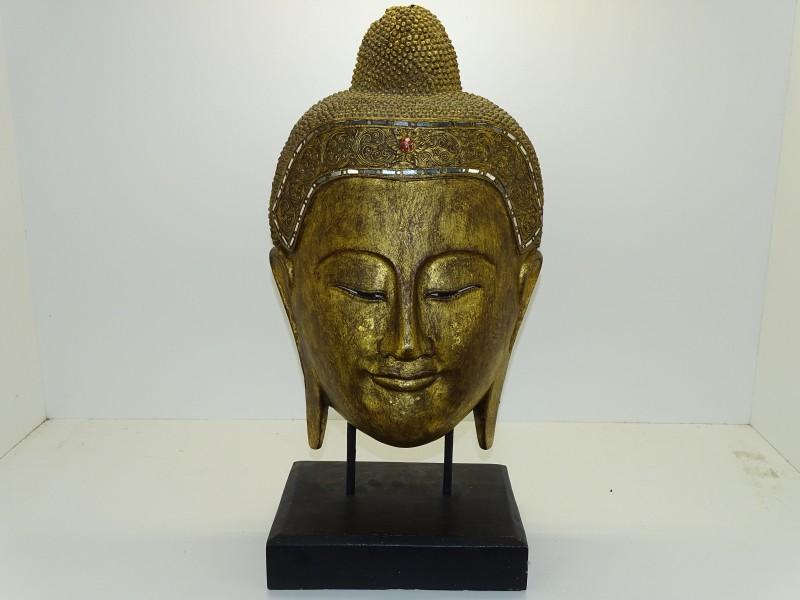 Handgesneden Houten Boeddha Hoofd