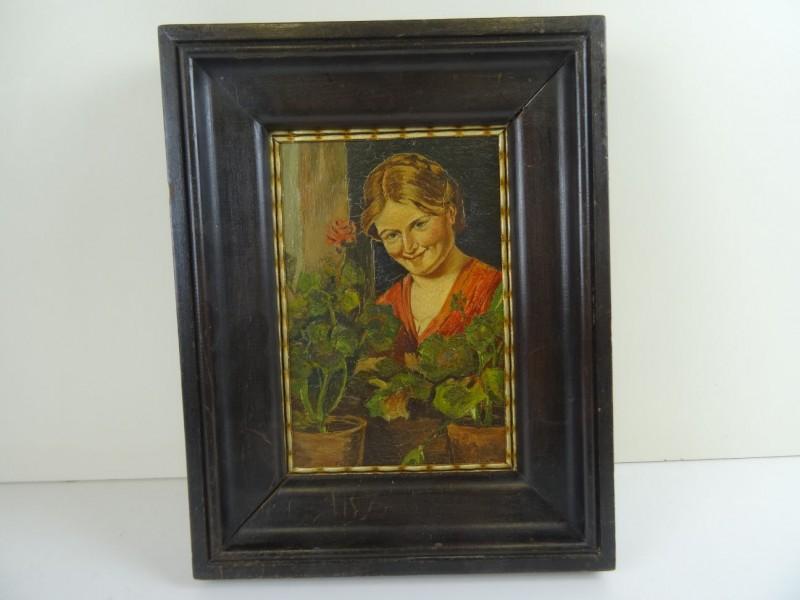 schilderij: bevallige vrouw met bloemen.