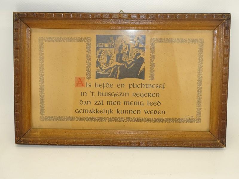 Spreuk in Houten Kader: 'liefde en plichtsbesef in 't huisgezin'