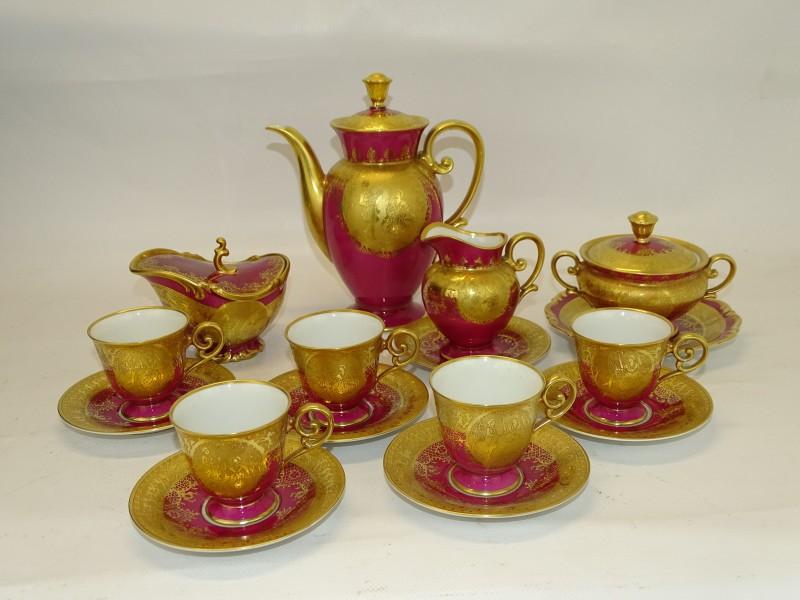 Vintage Porseleinen Koffie / TheeSet, Goudkleurige Decoratie, D.W. Karlsbader
