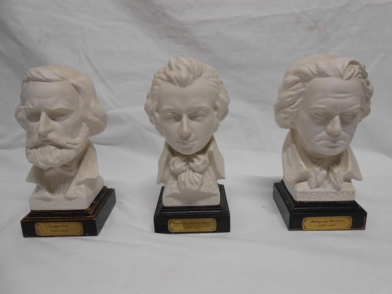 3 Bustes Verdi, Beethoven en Mozart.