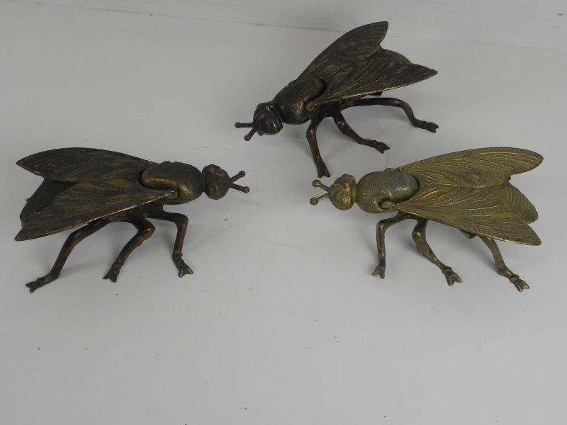 Vintage Asbakken in de vorm van insecten - messing /geelkoper