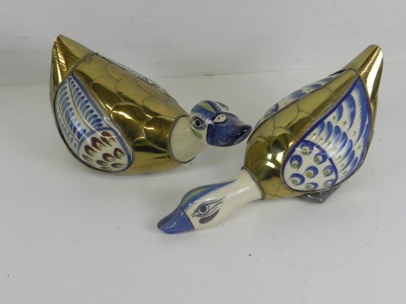 Vintage Mexicaans keramiek aardewerk en messing eenden