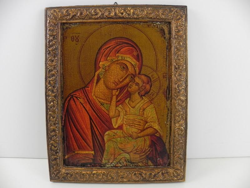 Houten kader, Byzantijns met schilderij van Odighitria