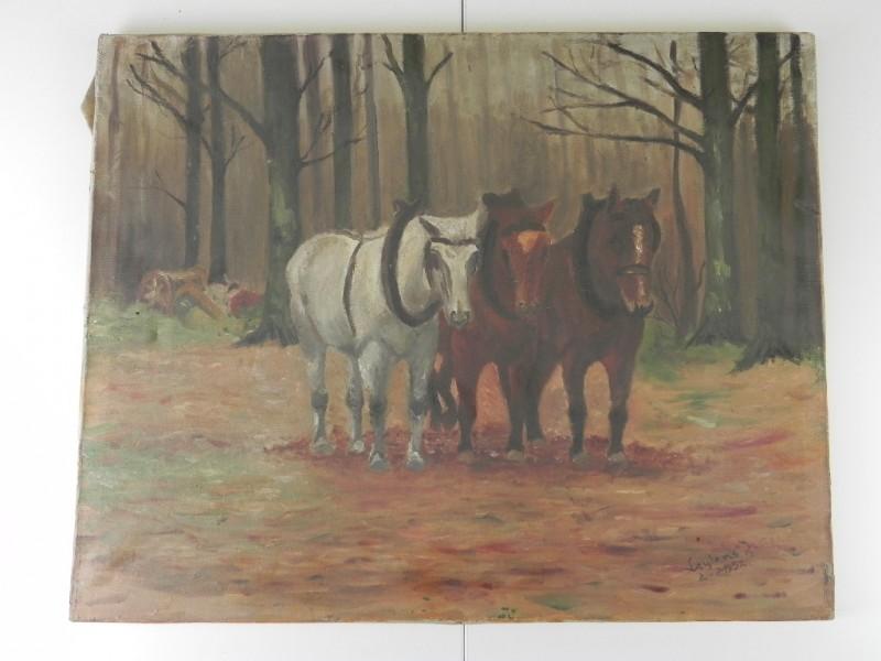 """Schilderij Gernestuk """"Trekpaarden"""" - gesigneerd en gedateerd"""