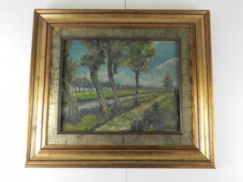 Landschap schilderij op paneeltje - gesigneerd en gedateerd