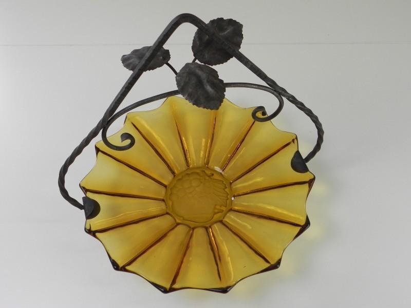 Art-deco amber persglas fruitschaal - Belge (2)