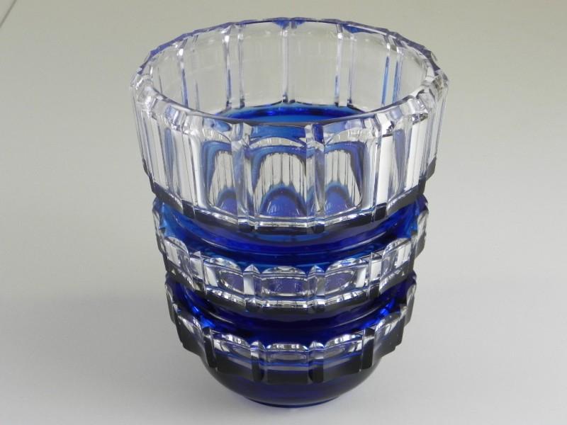 Vintage Kristallen vaas blauw