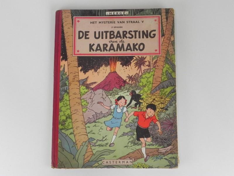 Hergé: Jo, Suus en Jokko - De uitbarsting van de Karamako - Eerste druk - (1952)