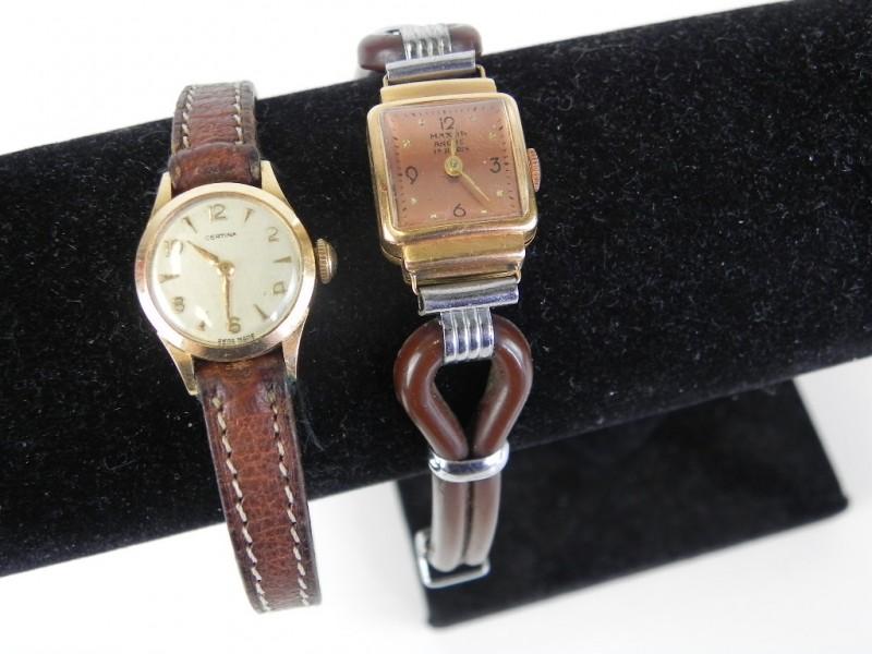 2 vintage horloges verguld 18 KT