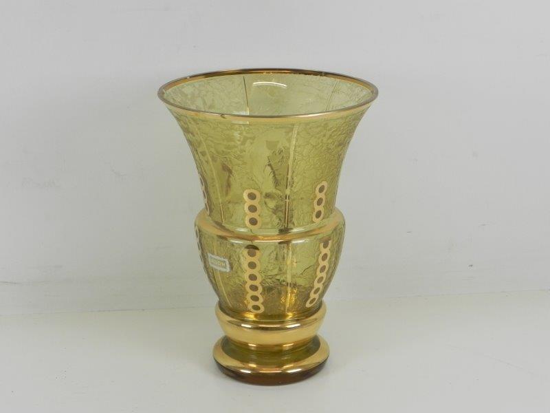 Glazen vaas met goudkleurige lijnen