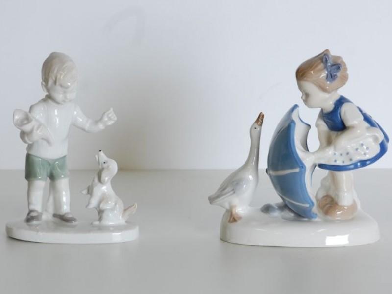 2 Porseleinen beeldjes Graefenthal Lippelsdorf - GDR