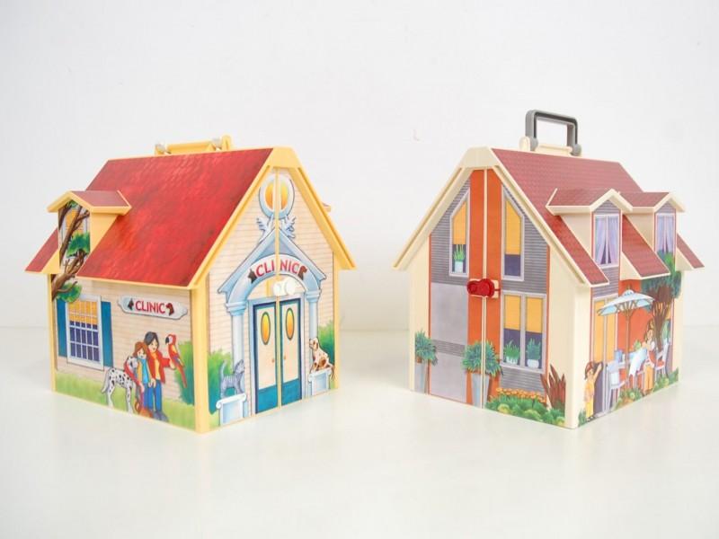 Playmobil gevulde meeneemhuizen - dierenarts en ons huis