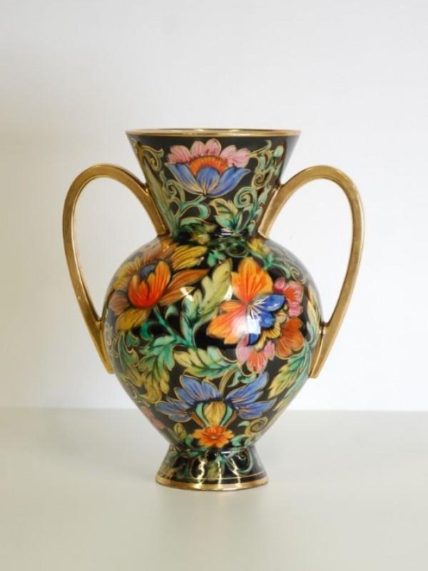 Vintage vaas - zwart met bloemen - Becquet Quarignon