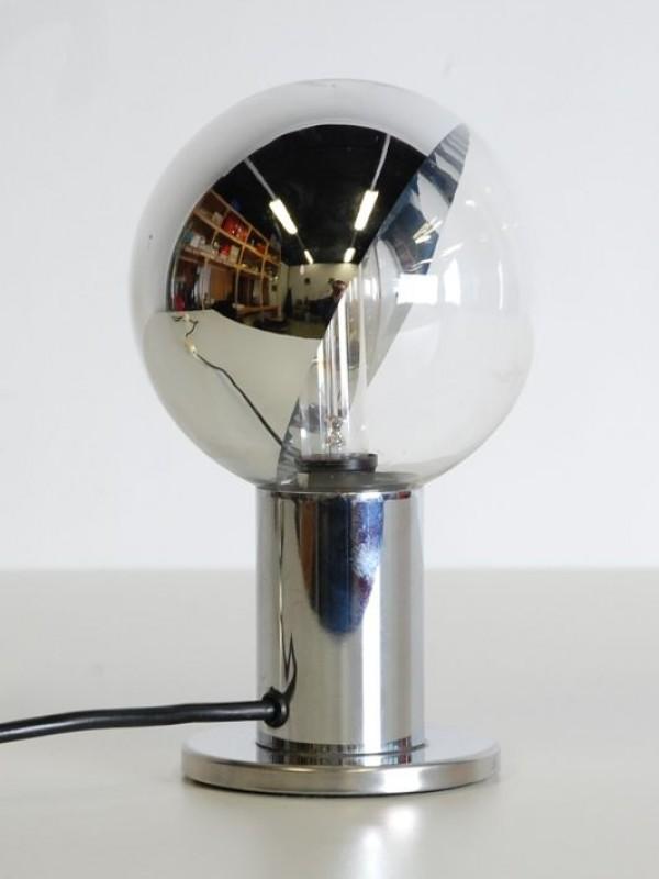 Vintage klein spiegelbollampje zilver