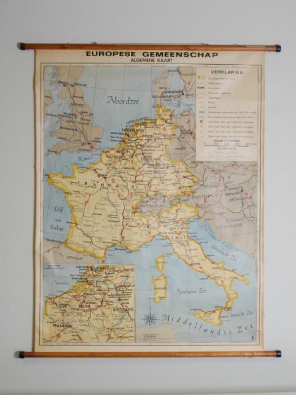 Oude landkaart van Europa - houten staven