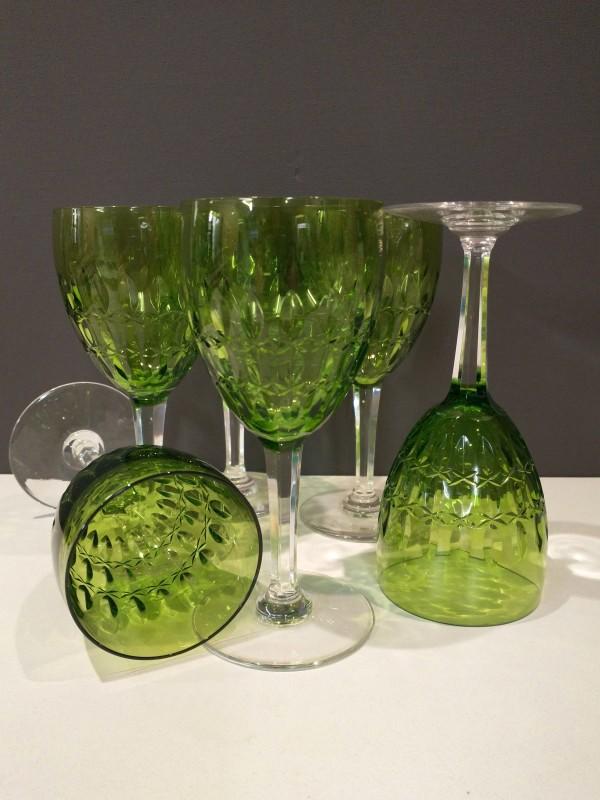 Set van 6 kristallen geslepen wijnglazen