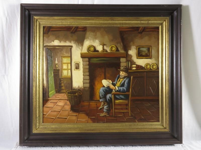 Schilderij man aan haard