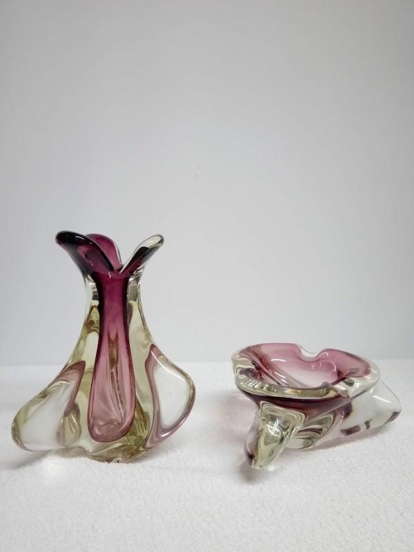 Set van asbak en vaas in kristal